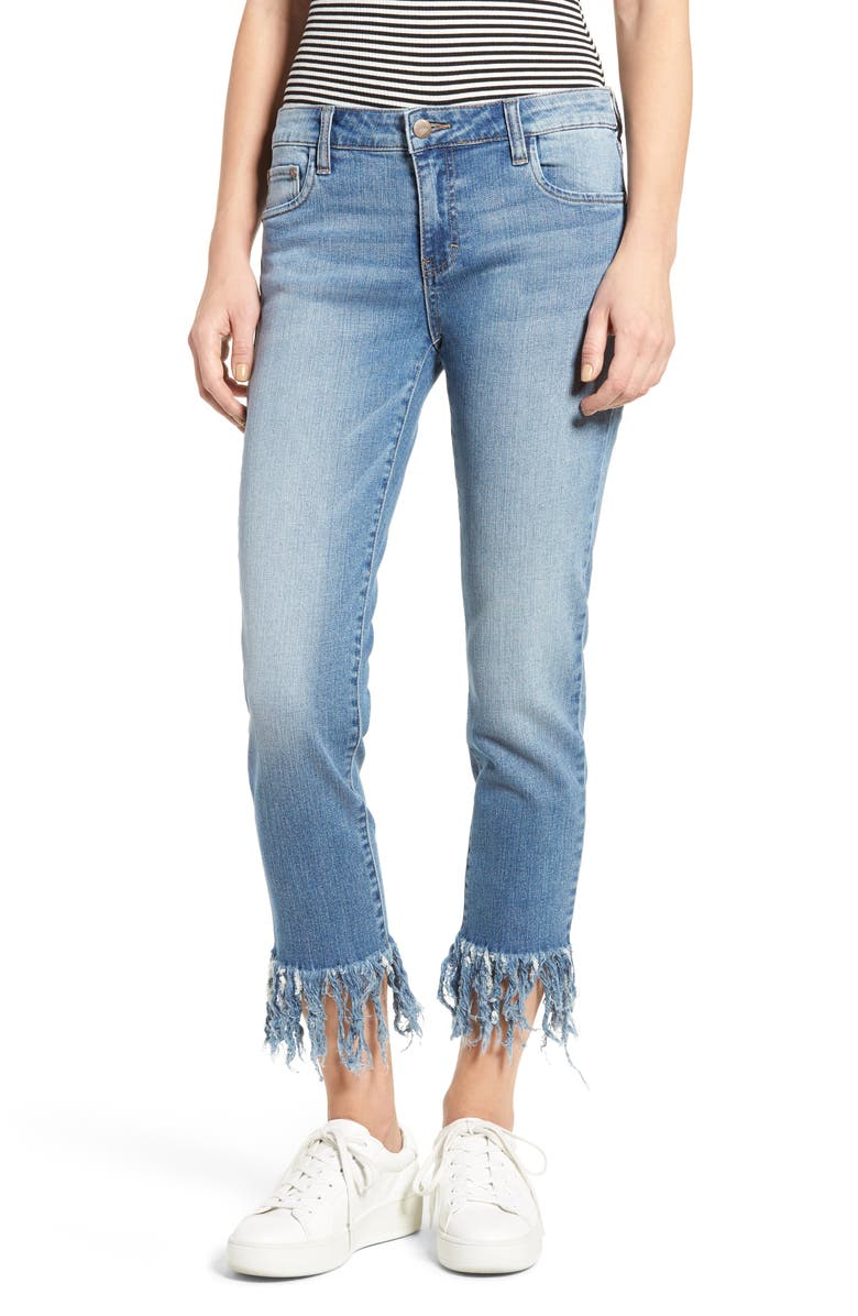 SUN & SHADOW Fringe Cuff Crop Jeans, Main, color, 420