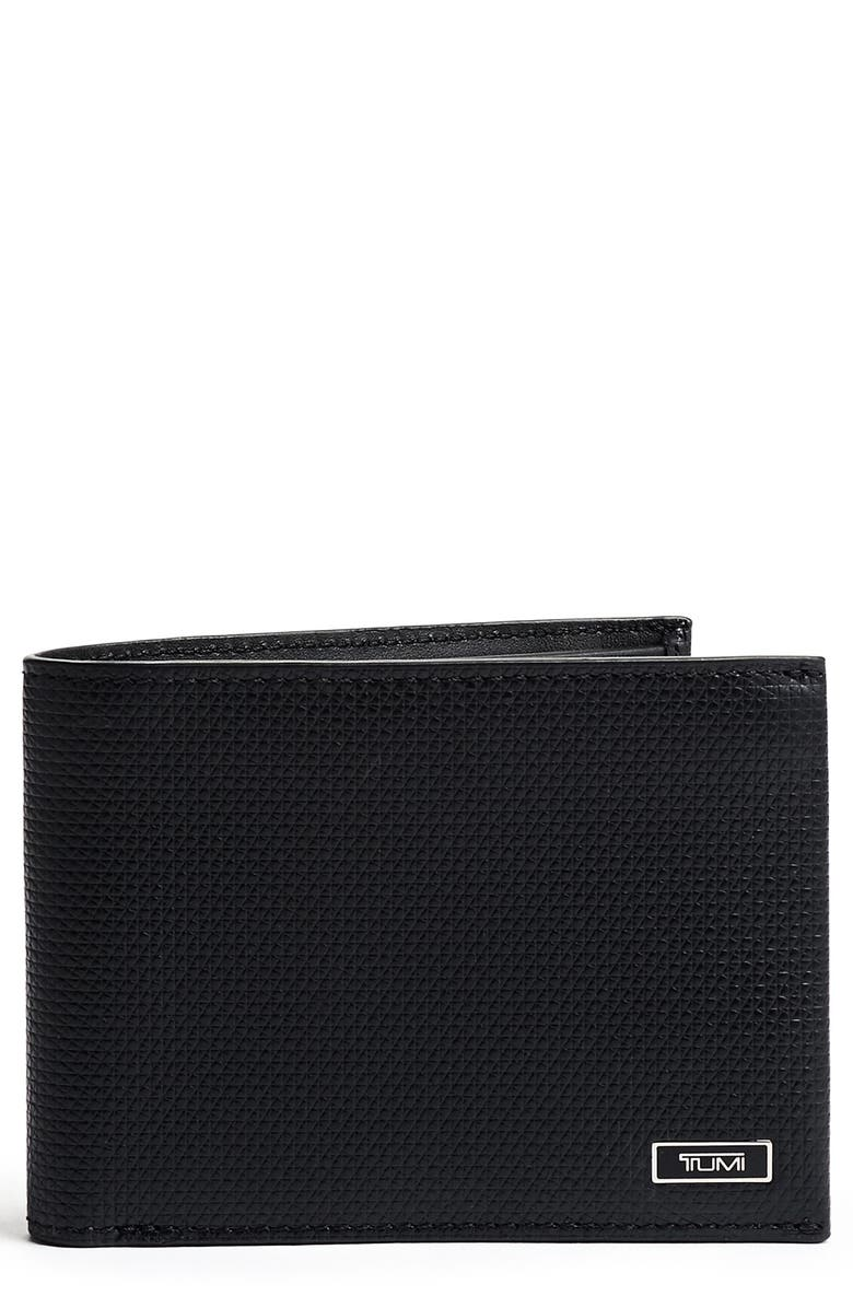 TUMI Monaco Leather Wallet, Main, color, BLACK