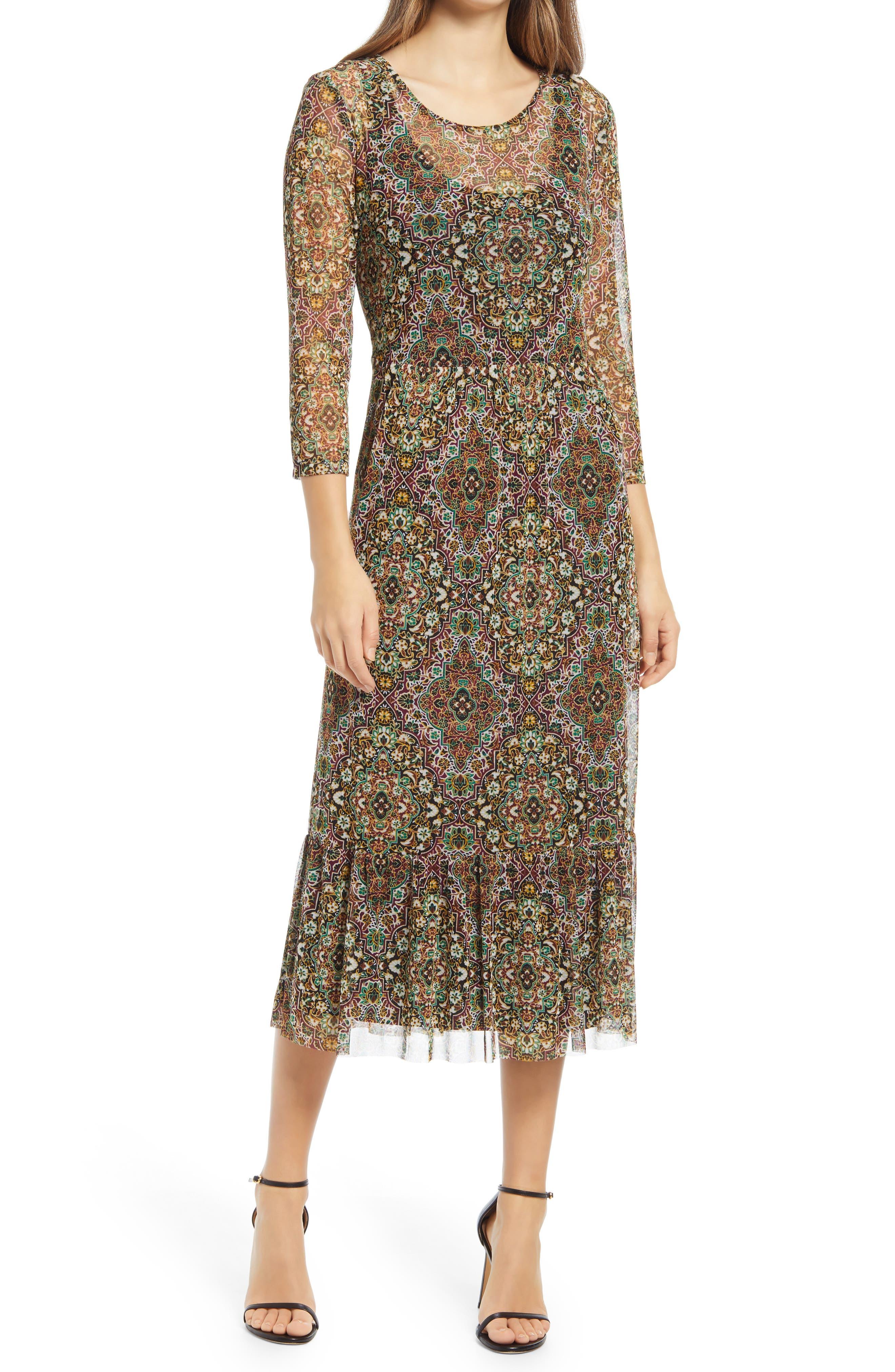 Moorish Print Mesh Long Sleeve Midi Dress