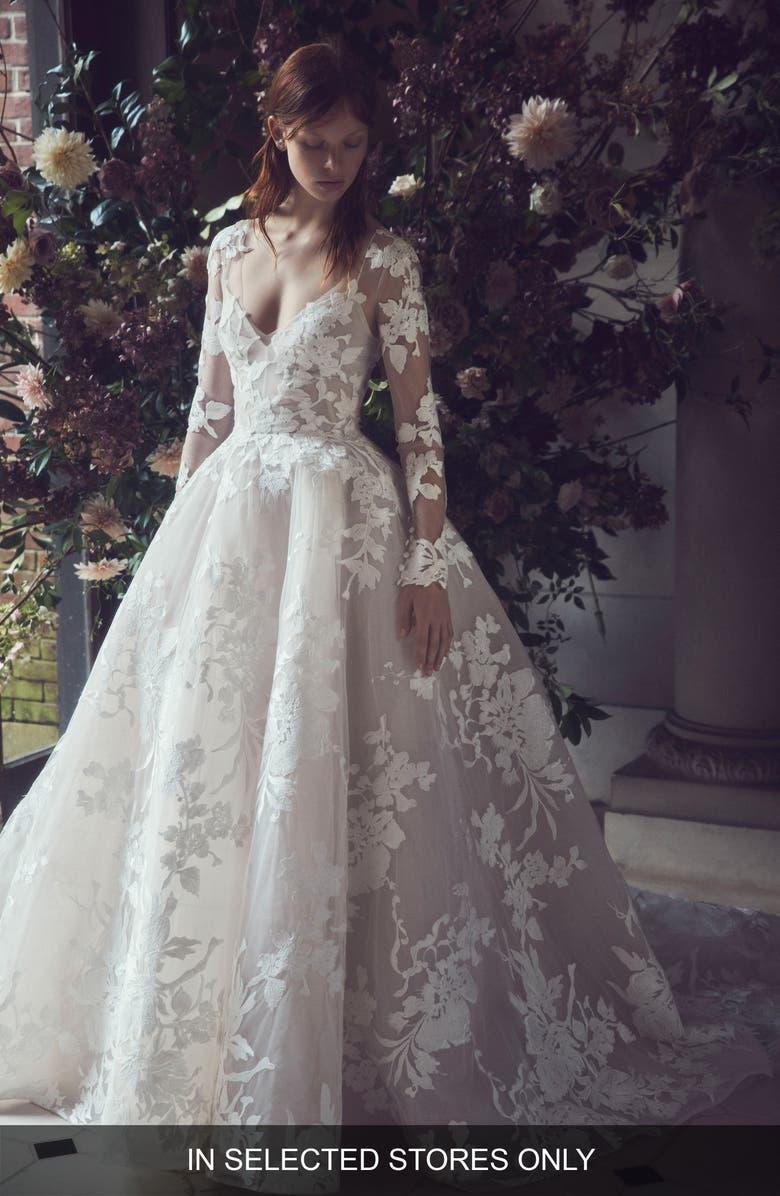 MONIQUE LHUILLIER Maeve Long Sleeve Illusion Lace Wedding Dress, Main, color, 100
