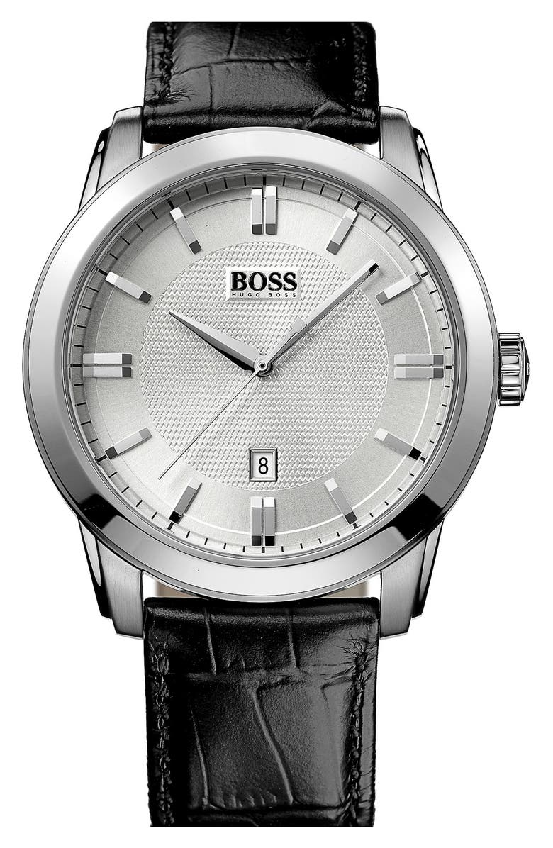 BOSS HUGO BOSS Round Leather Strap Watch, 44mm, Main, color, 001