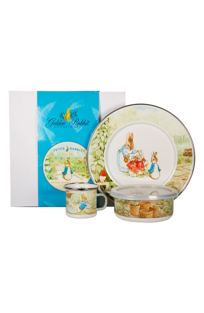 GOLDEN RABBIT Peter Rabbit Child Dish Set, Main, color, WHITE