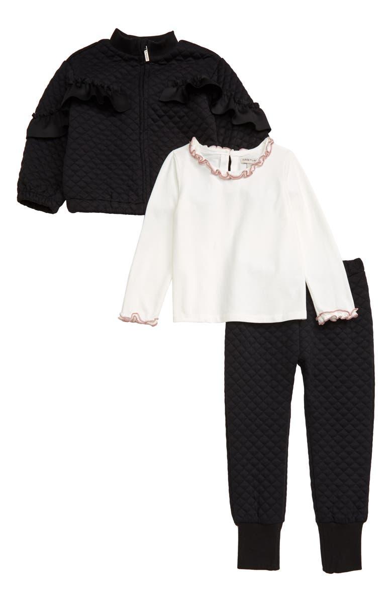 HABITUAL Jada Quilted Track Jacket, Pants & Long Sleeve Shirt Set, Main, color, BLACK