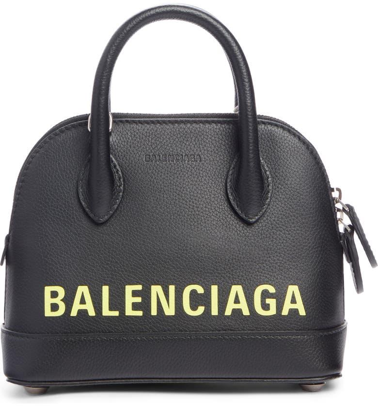 BALENCIAGA Extra Small Ville AJ Calfskin Top Handle Dome Satchel, Main, color, BLACK/ FLUO YELLOW