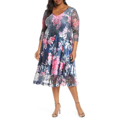 Plus Size Komarov Floral Lace Sleeve Satin Charmeuse Dress, Blue