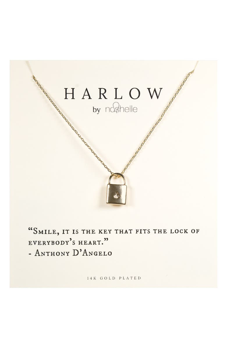 NASHELLE HARLOW by Nashelle Lock Boxed Necklace, Main, color, GOLD