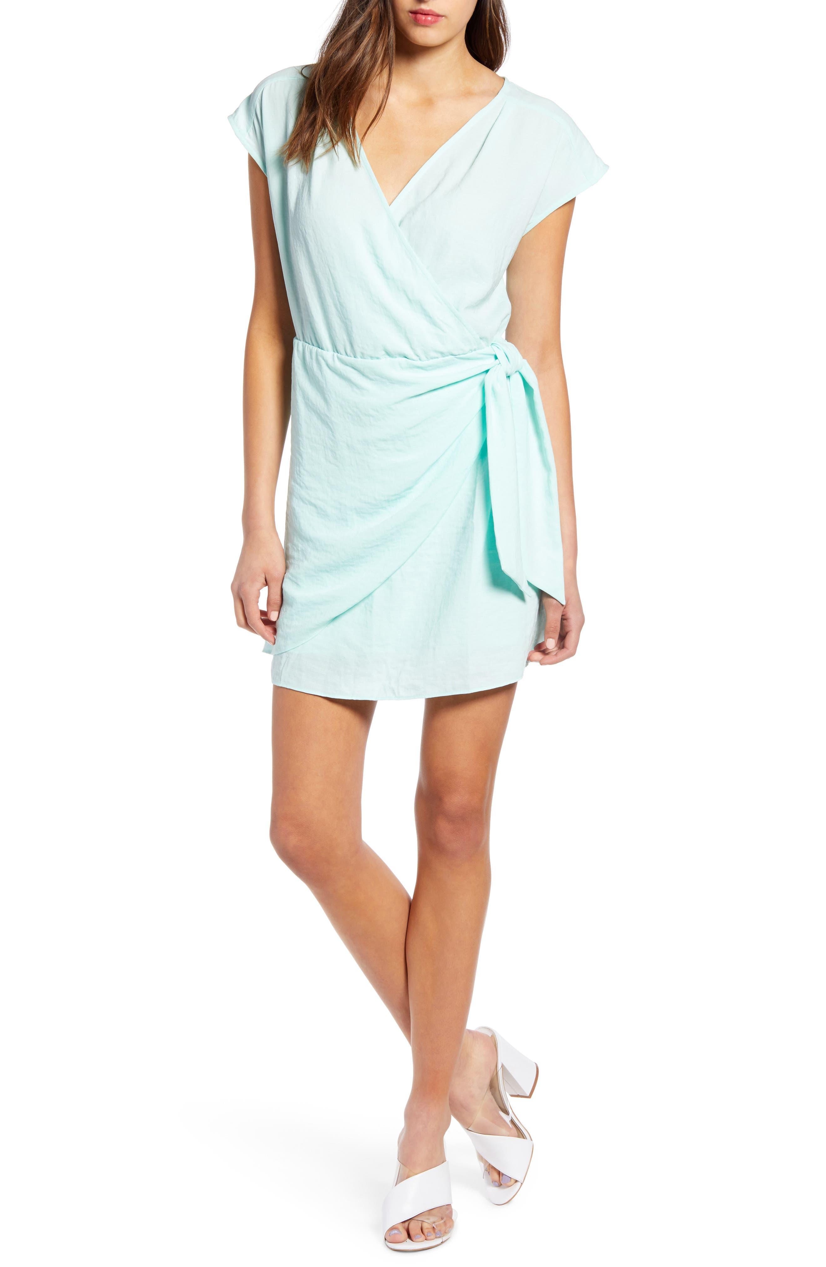 Leith Wrap Minidress, Blue/green