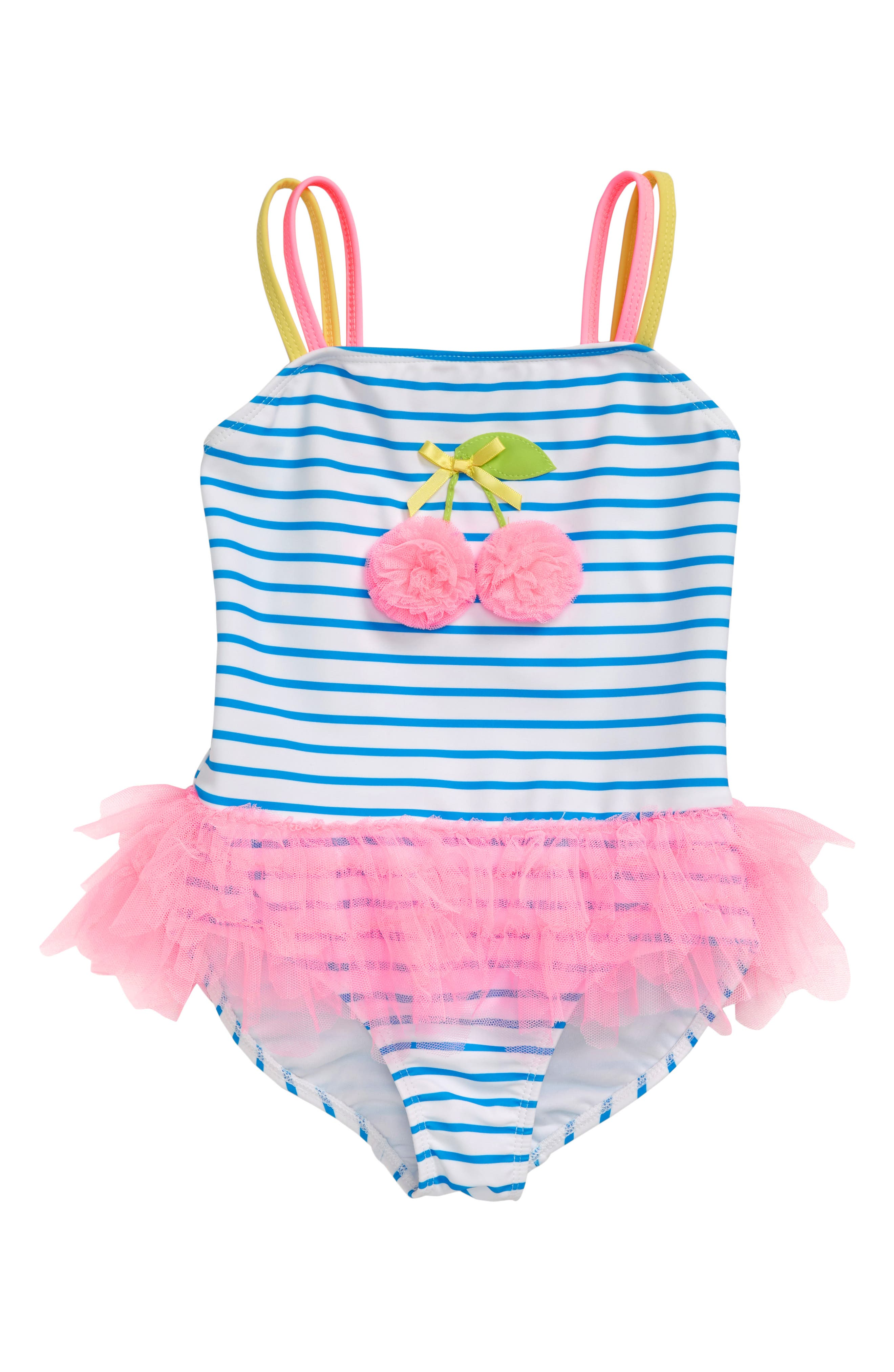 Toddler Girls Kate Mack Cherry Tutu OnePiece Swimsuit Size 4T  White
