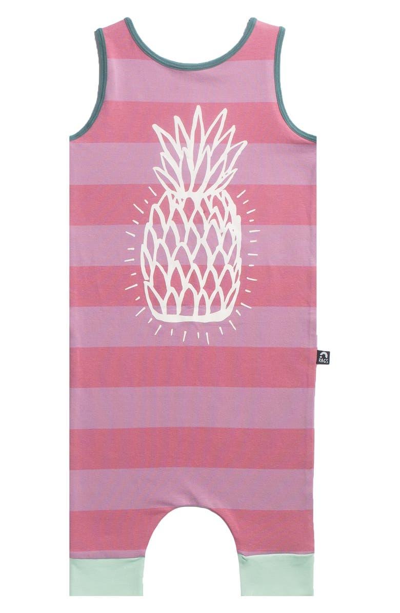 RAGS Pineapple Print Tank Romper, Main, color, PINK STRIPE