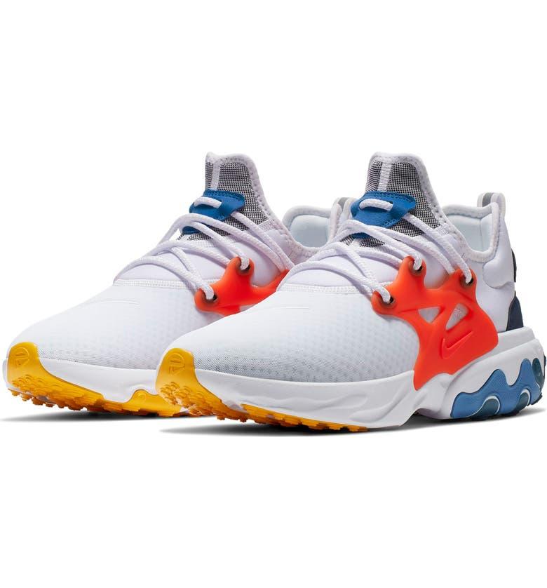 NIKE React Presto Sneaker, Main, color, WHITE/ RED/ OBSIDIAN/ BLUE