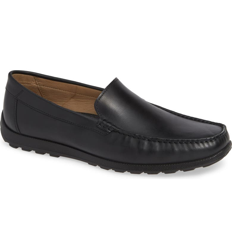 ECCO Dip Moc Toe Driving Loafer, Main, color, BLACK LEATHER