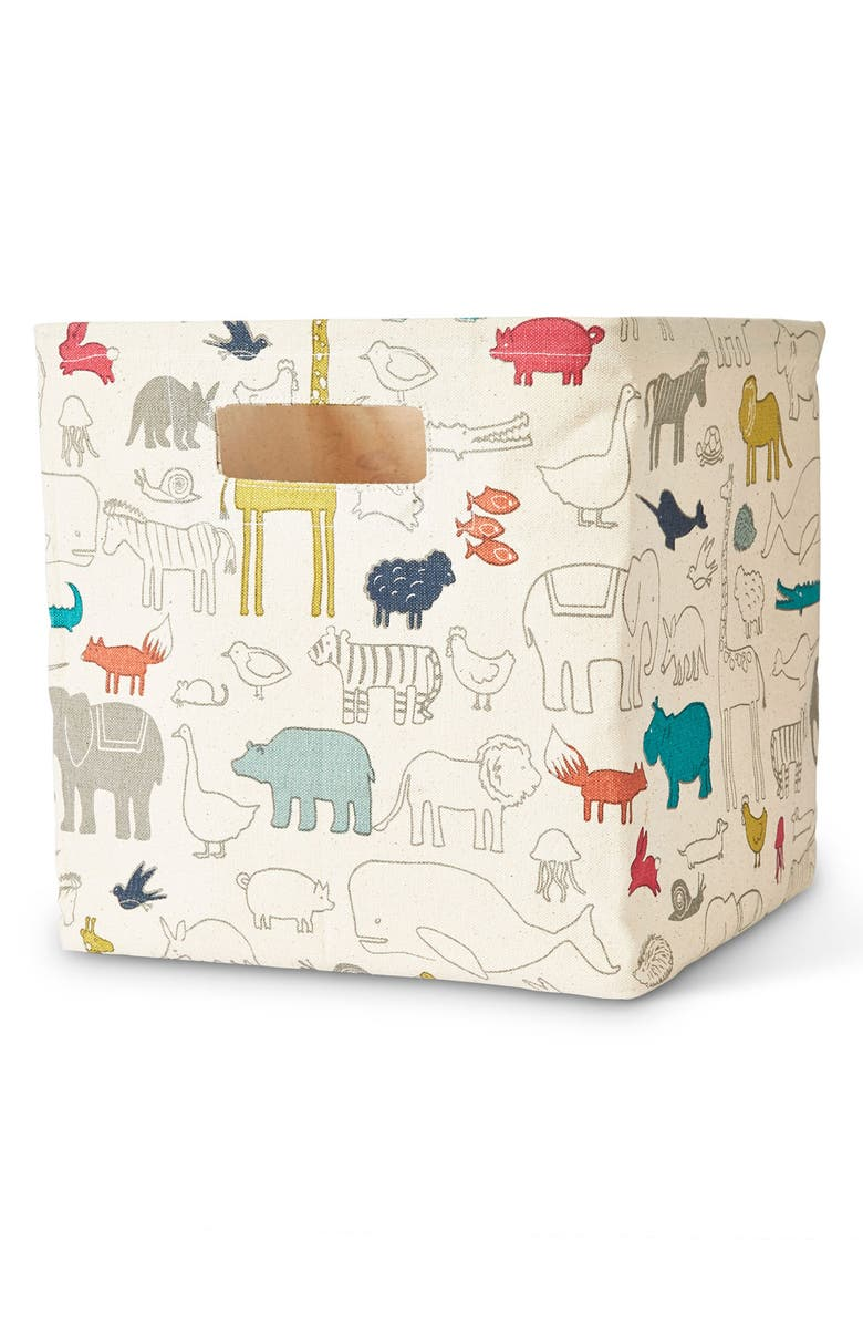 PEHR Noah's Ark Canvas Cube Bin, Main, color, 900