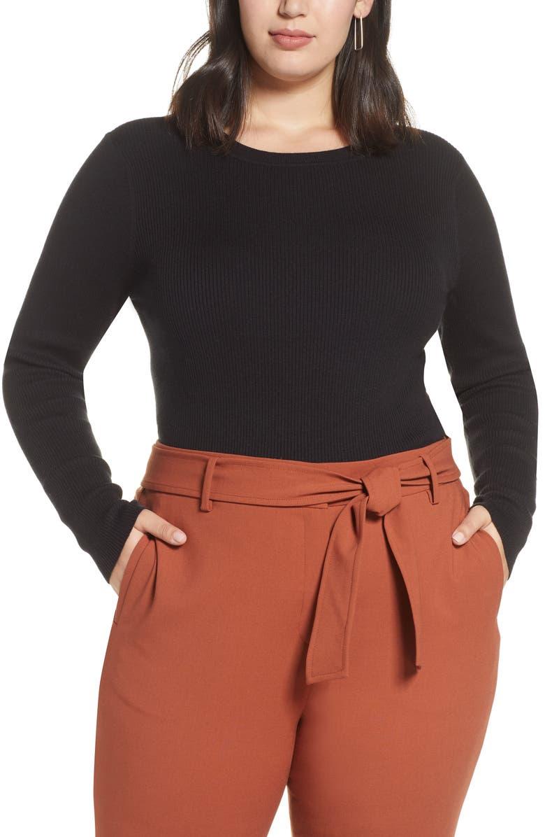 HALOGEN<SUP>®</SUP> Ribbed Crewneck Sweater, Main, color, BLACK