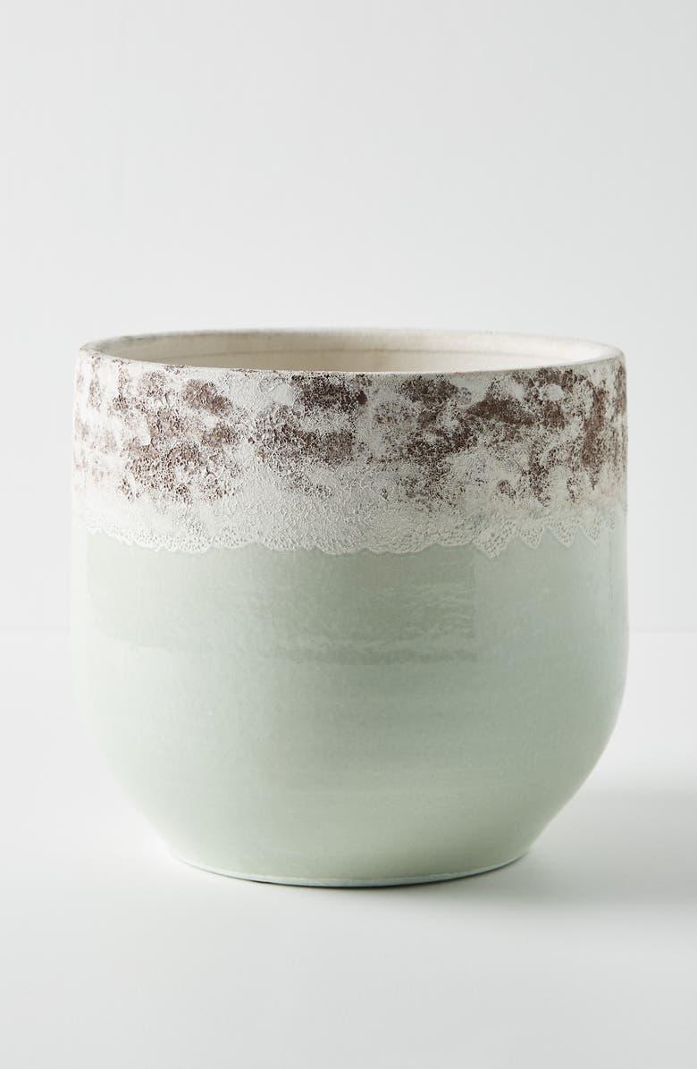ANTHROPOLOGIE Medium Sea Foam Terra Cotta Pot, Main, color, MINT GREEN