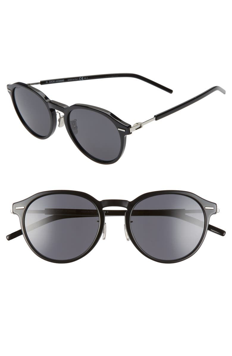DIOR HOMME Technicity 52mm Round Sunglasses, Main, color, 001