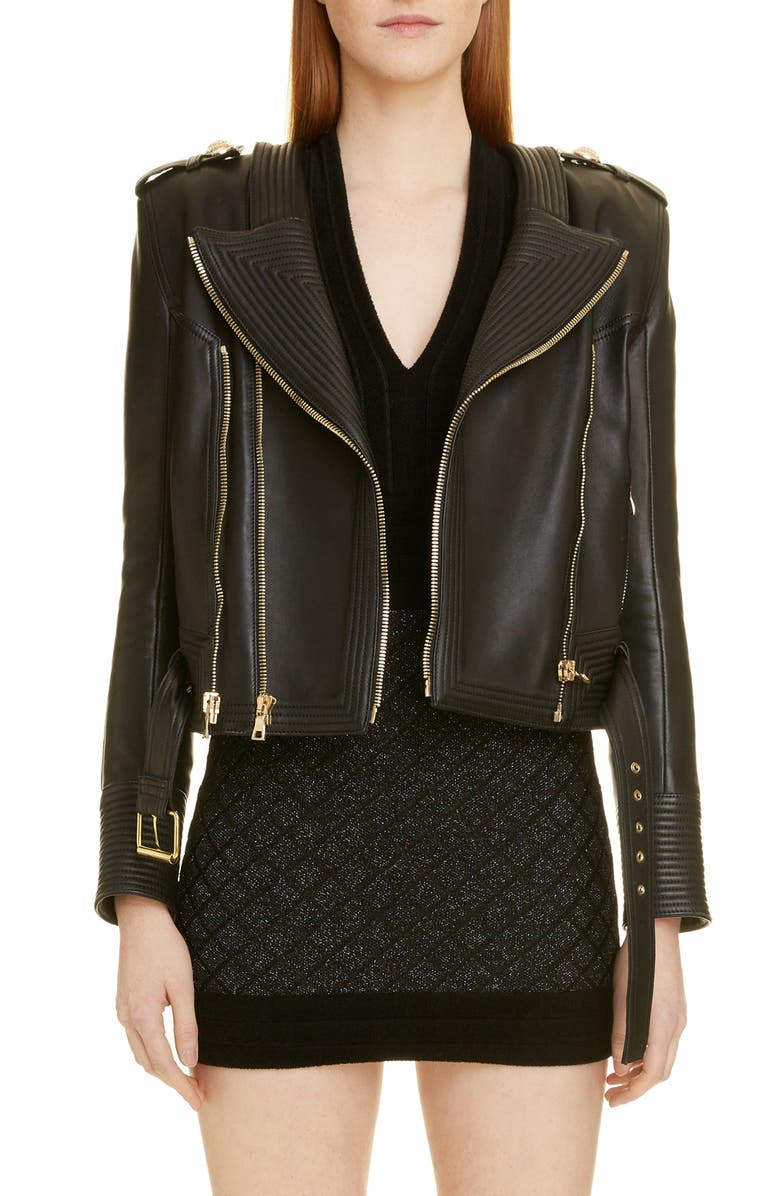 BALMAIN Epaulet Leather Jacket, Main, color, 0PA NOIR