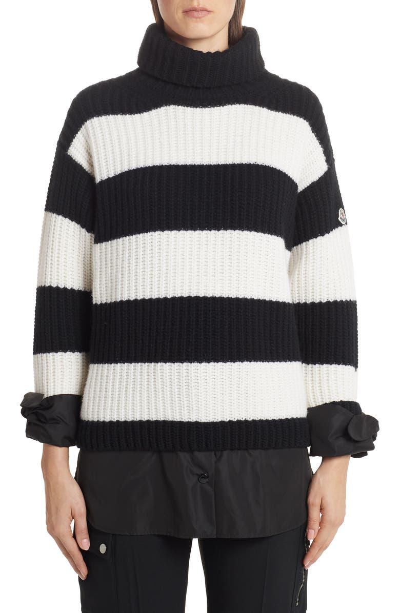 MONCLER Stripe Turtleneck Sweater, Main, color, BLACK
