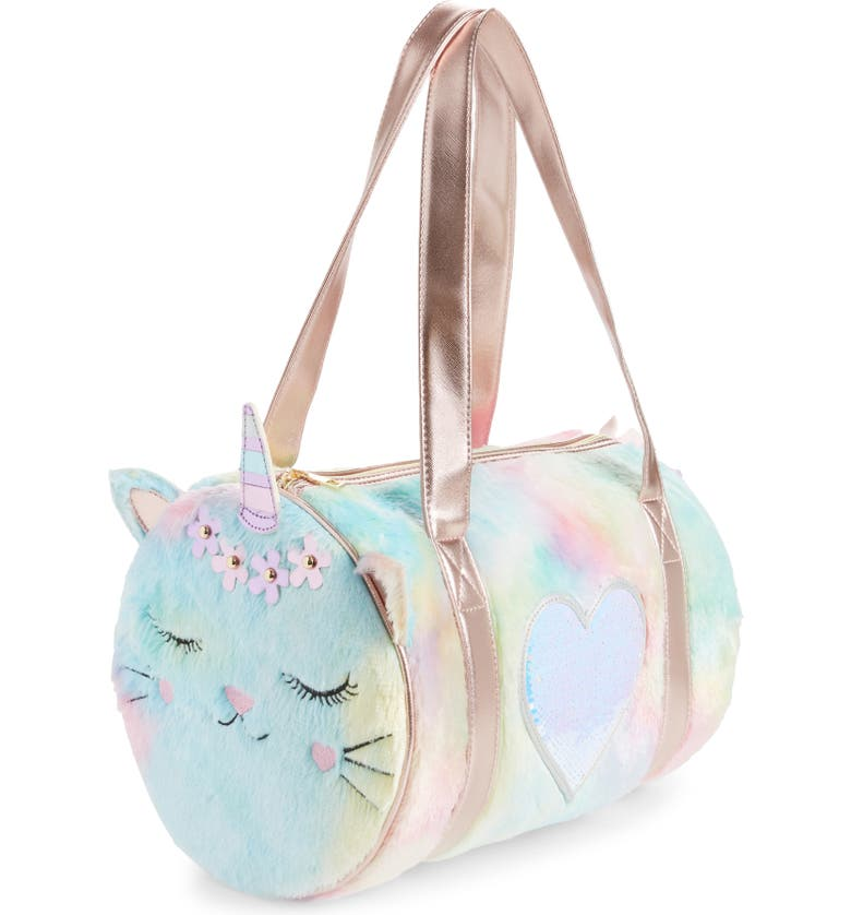 UNDER ONE SKY Kitty Faux Fur Weekend Duffle Bag, Main, color, 966