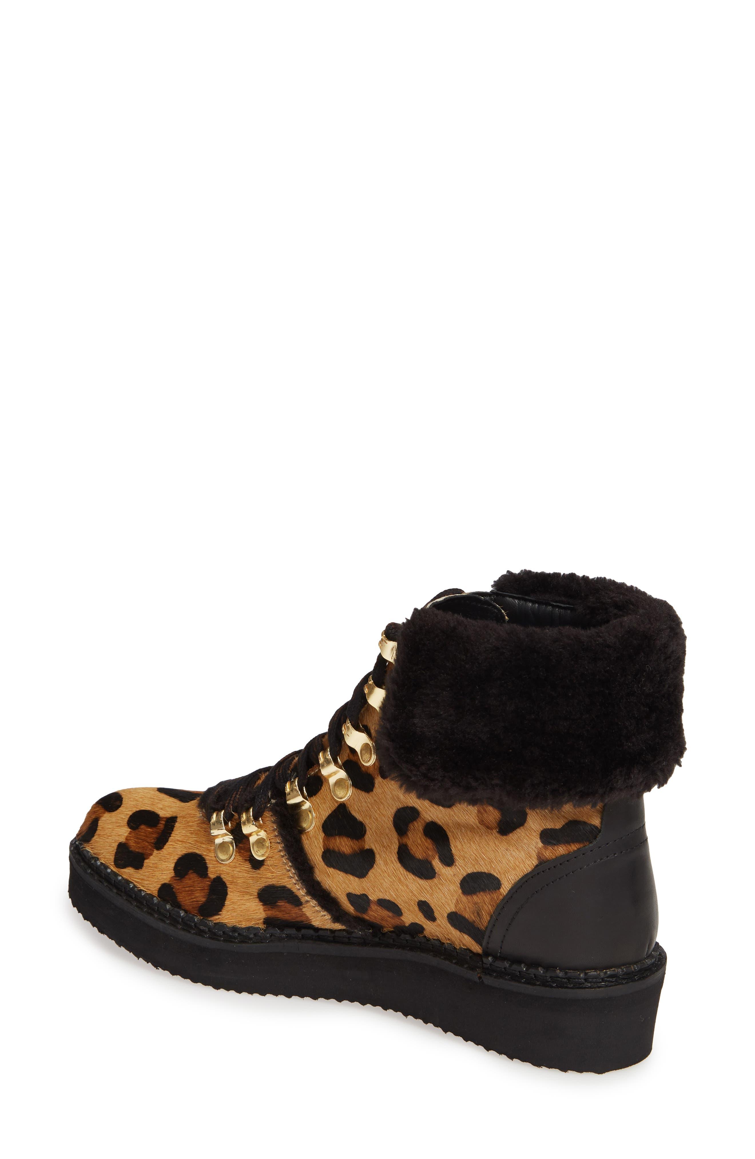 ,                             Tonkin Genuine Calf Hair Hiker Boot,                             Alternate thumbnail 2, color,                             BLACK LEOPARD LEATHER