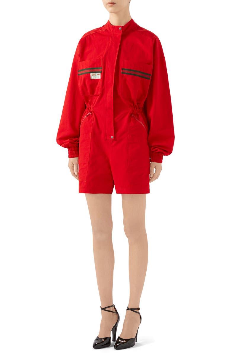 GUCCI Logo Label Cotton Romper, Main, color, LIVE RED/ MULTICOLOR