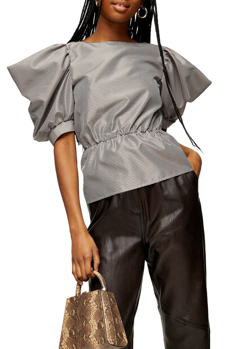 TOPSHOP Gingham Drama Sleeve Blouse, Main, color, BLACK MULTI