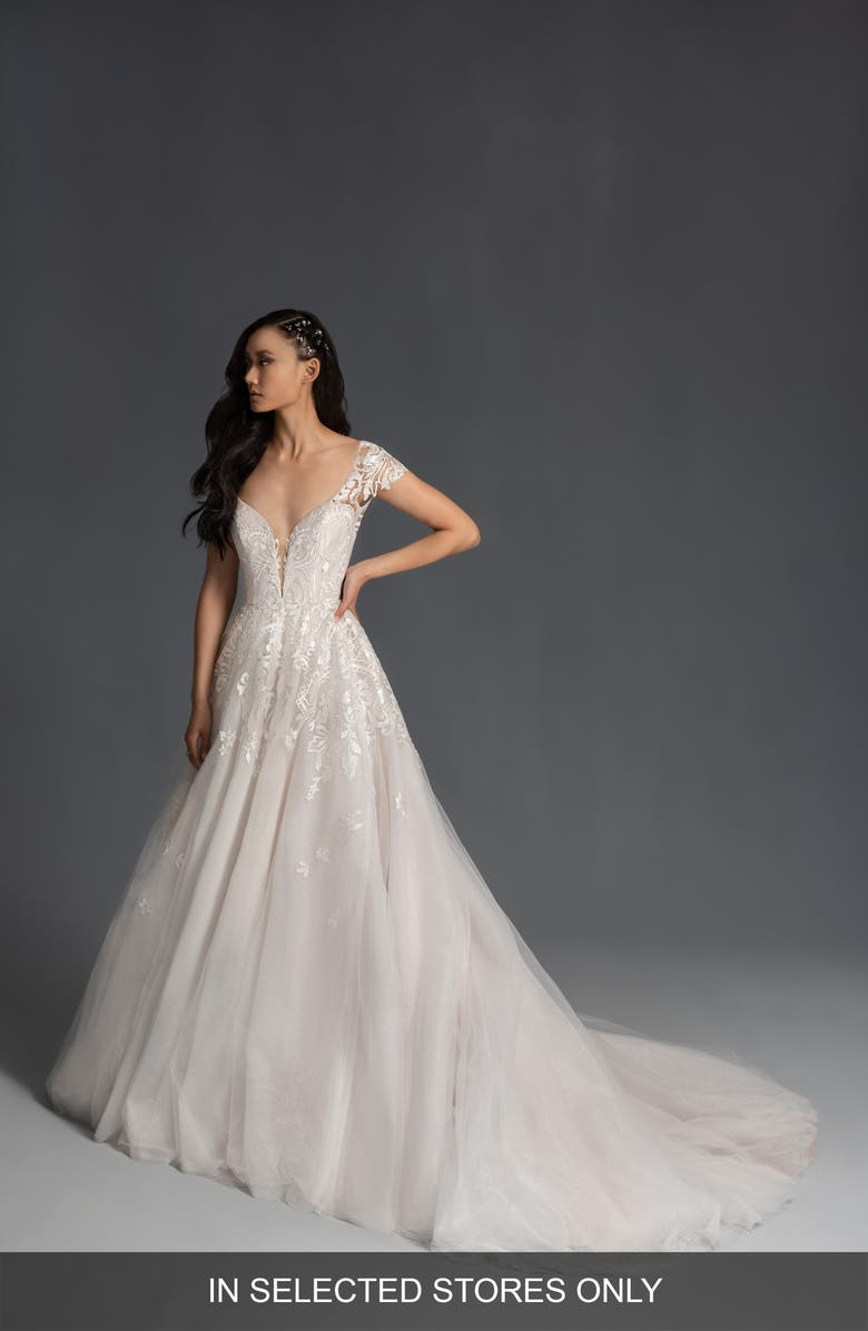 HAYLEY PAIGE Brando Embroidered Tulle Wedding Dress, Main, color, IVORY