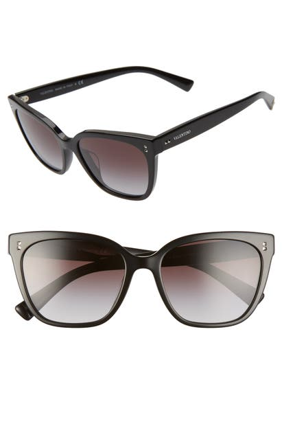Valentino 55mm Gradient Square Cat Eye Sunglasses In Black/ Black Gradient