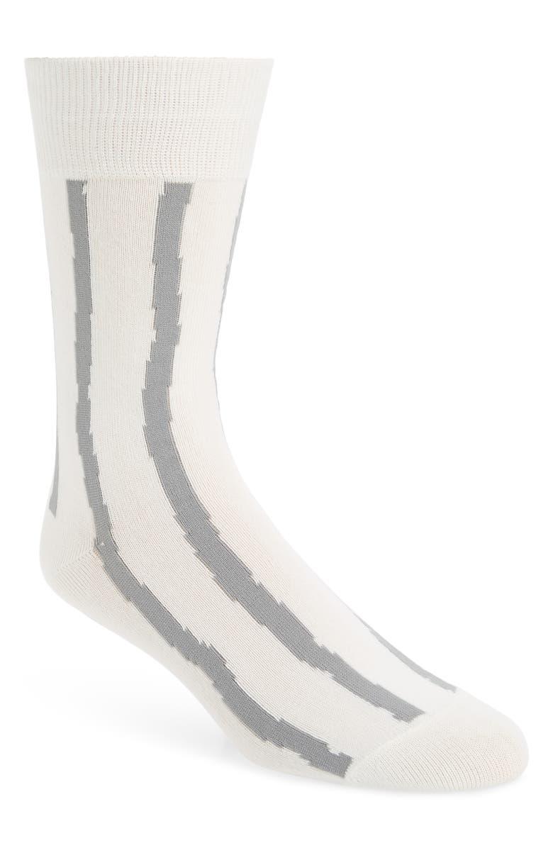 ISSEY MIYAKE Men Stripe Socks, Main, color, OFF WHITE