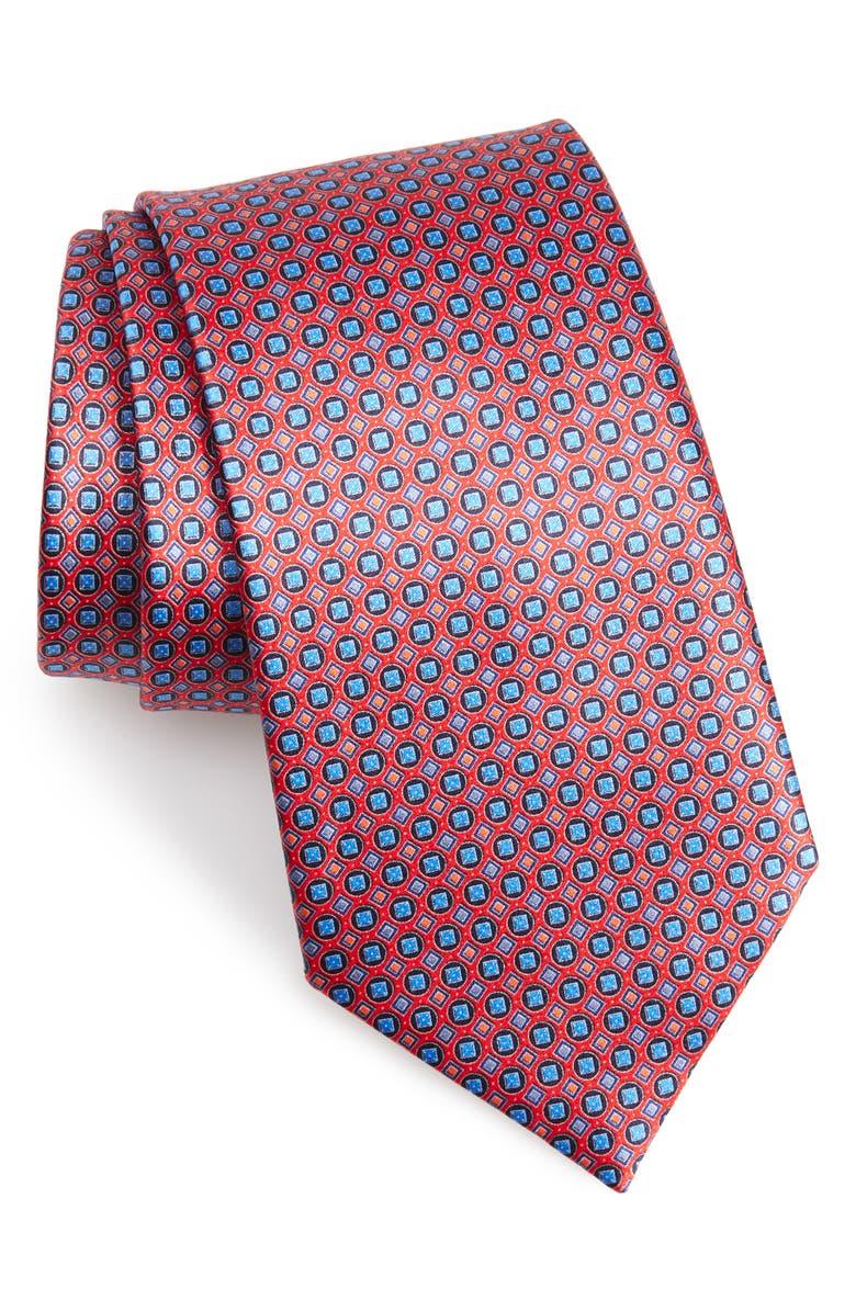 ERMENEGILDO ZEGNA Medallion Silk Tie, Main, color, RED