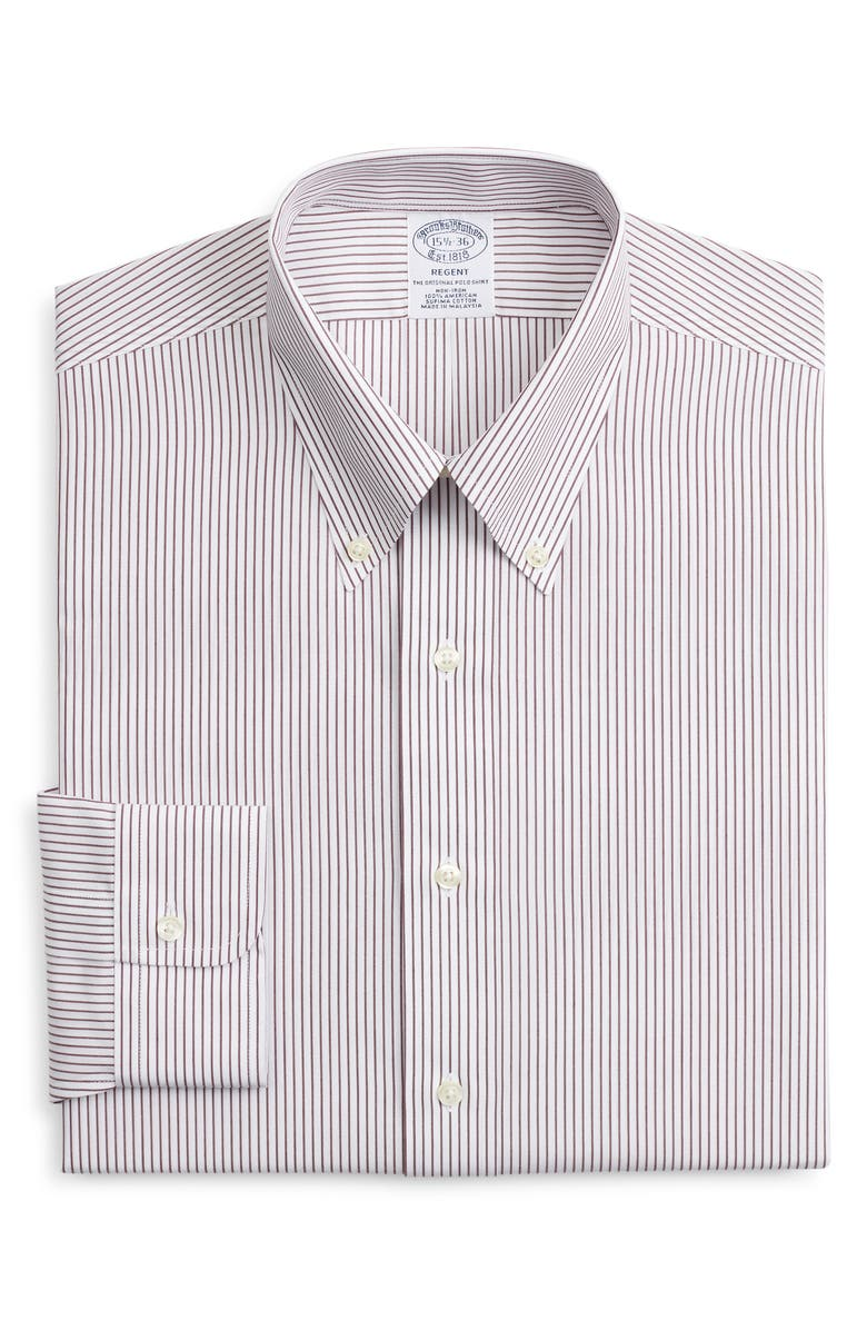 BROOKS BROTHERS Regent Regular Fit Non-Iron Stripe Dress Shirt, Main, color, STPFIG