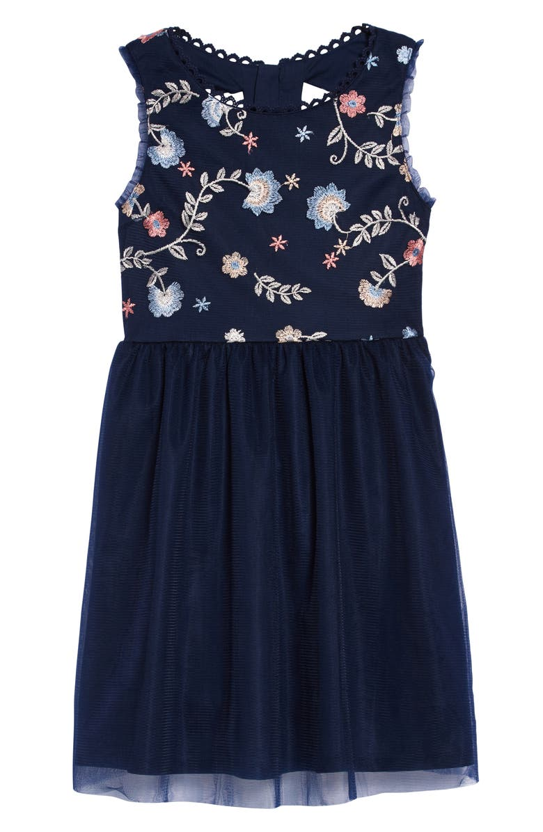 TRIXXI GIRL Embroidered Mesh Dress, Main, color, NAVY