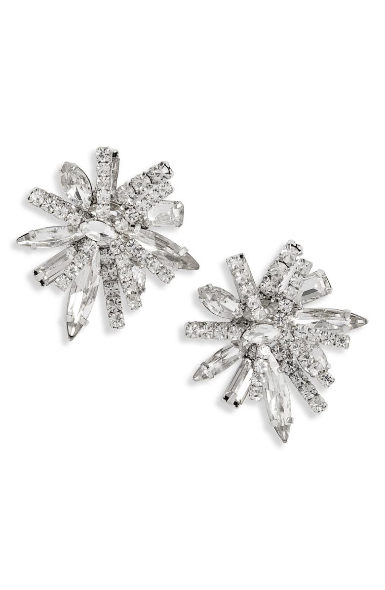 CRISTABELLE Statement Cluster Crystal Earrings, Main, color, CRYSTAL/ SILVER