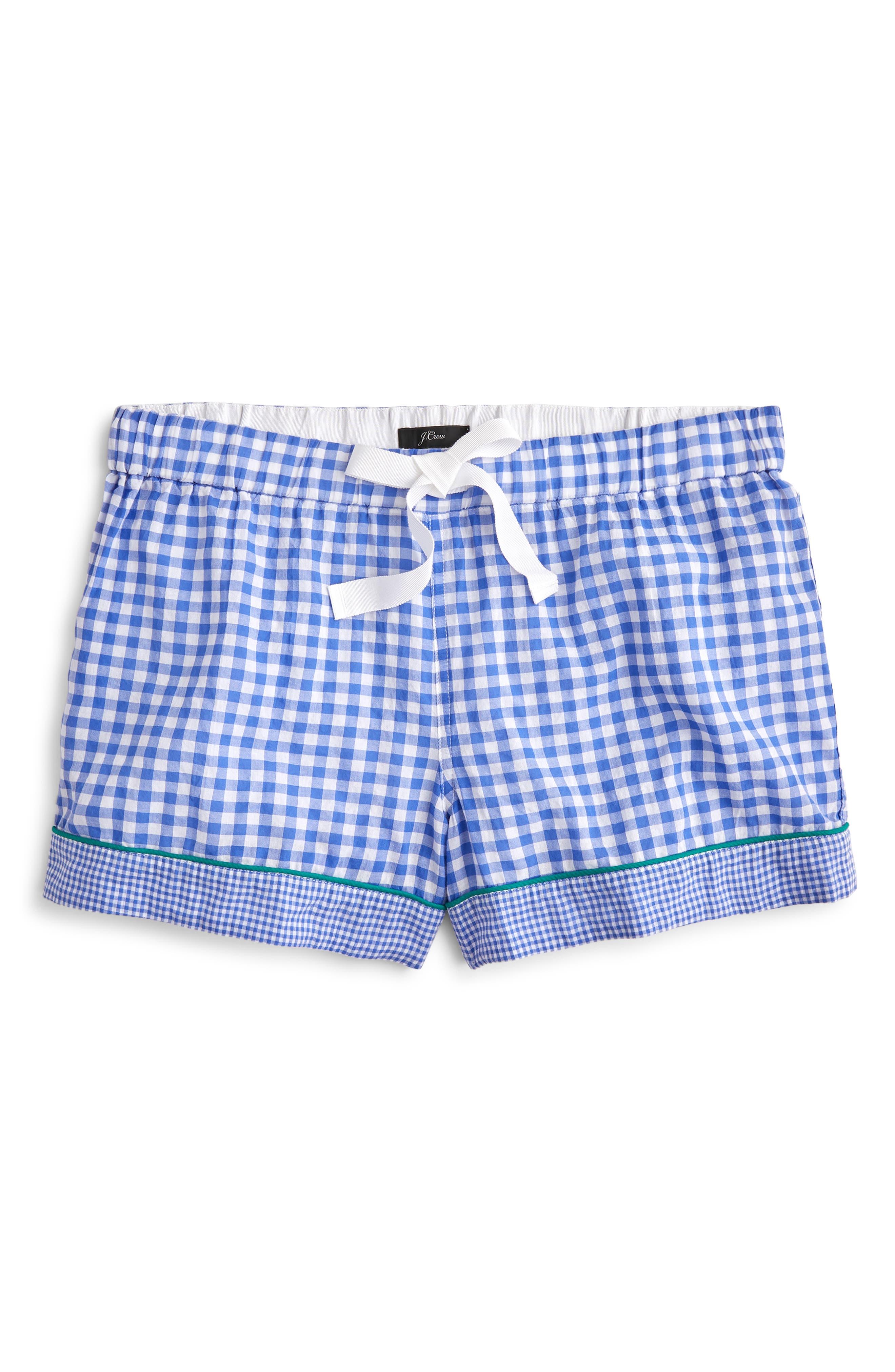 Plus Size J.crew Mixed Gingham Cotton Pajama Shorts, Size - Blue