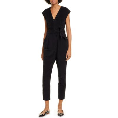 La Vie Rebecca Taylor Sleeveless Stretch Velveteen Jumpsuit, Black