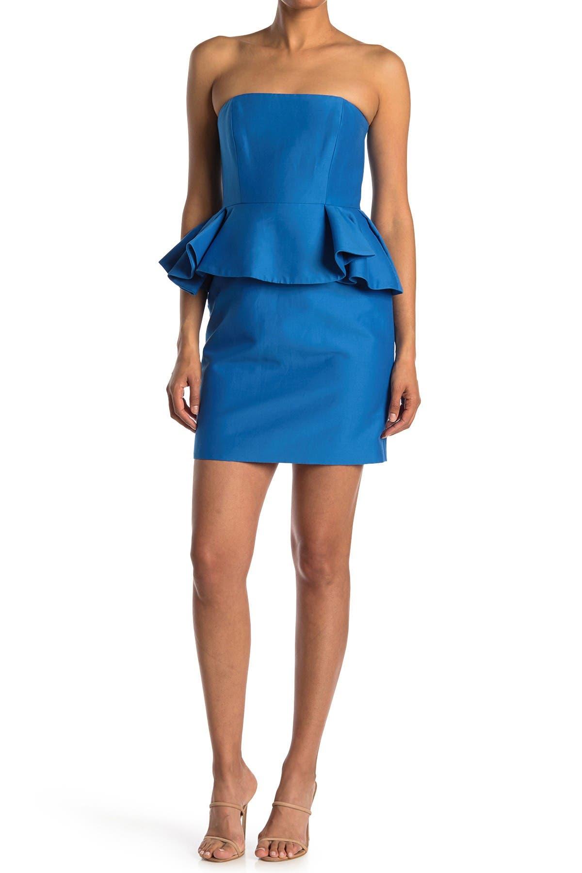 Image of HALSTON Strapless Peplum Dress