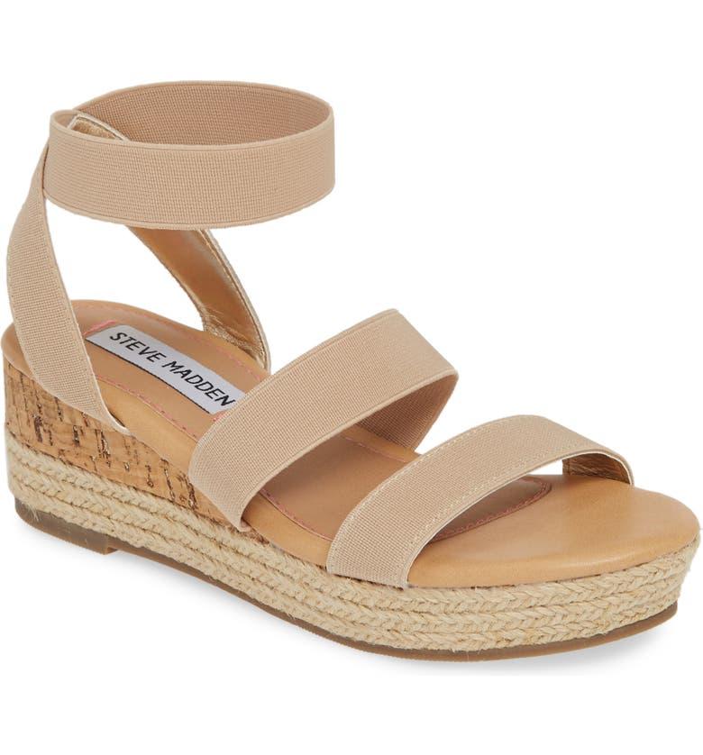 STEVE MADDEN JBandi Wedge Sandal, Main, color, NATURAL
