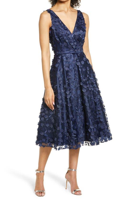 Eliza J Dresses 3D APPLIQUE FIT & FLARE COCKTAIL DRESS