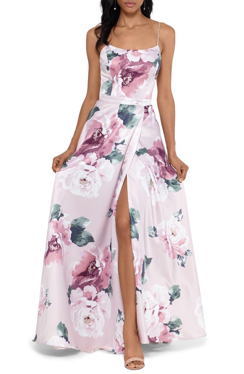 XSCAPE Floral Print Satin Ballgown, Main, color, BLUSH