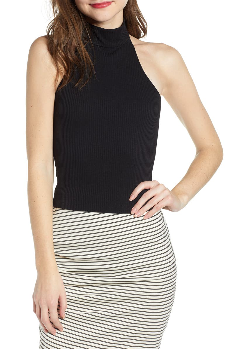 LEITH Ribbed Halter Neck Top, Main, color, 001