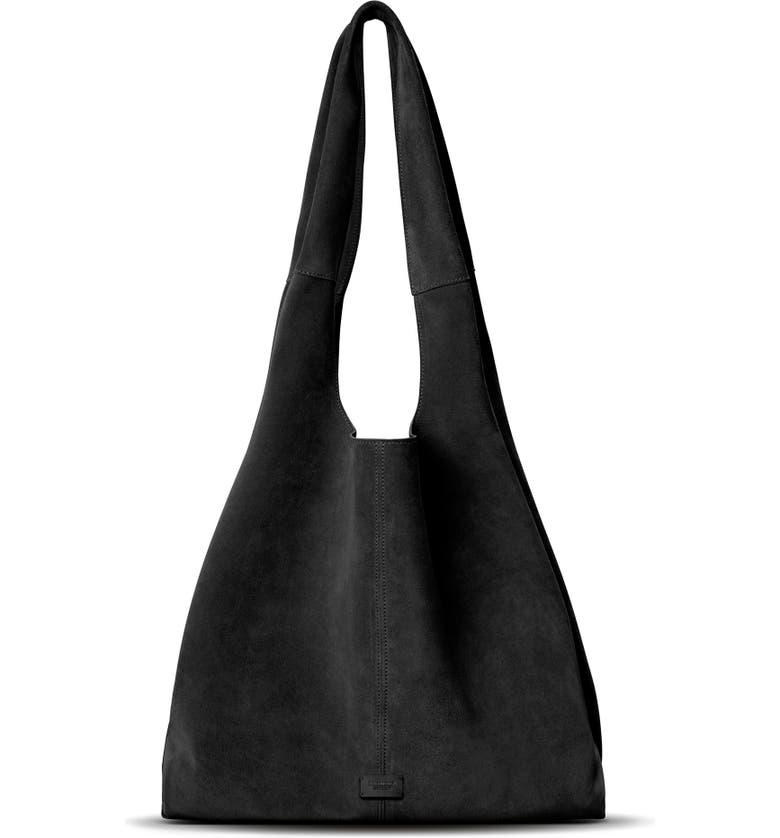 SHINOLA Market Suede Hobo Bag, Main, color, BLACK