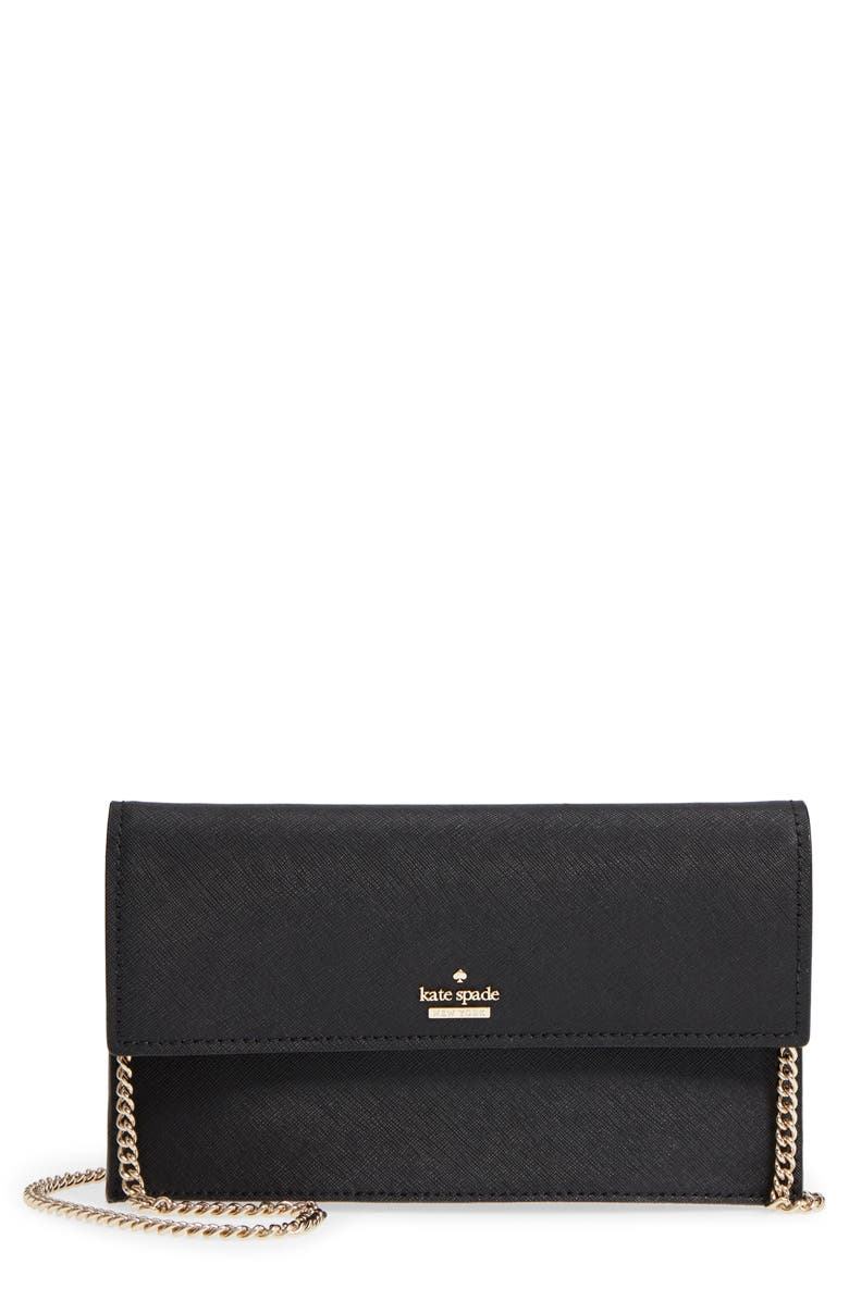 KATE SPADE NEW YORK cameron street - brennan leather wallet & card case, Main, color, 001