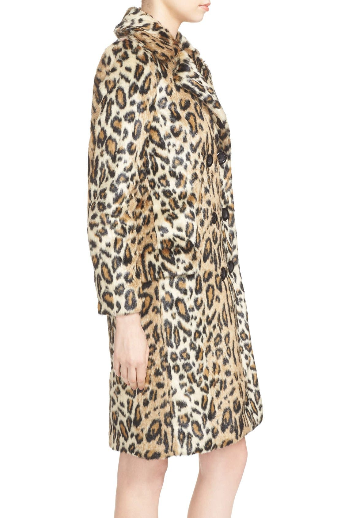 ,                             'Montana' Leopard Print Faux Fur Double Breasted Coat,                             Alternate thumbnail 5, color,                             219
