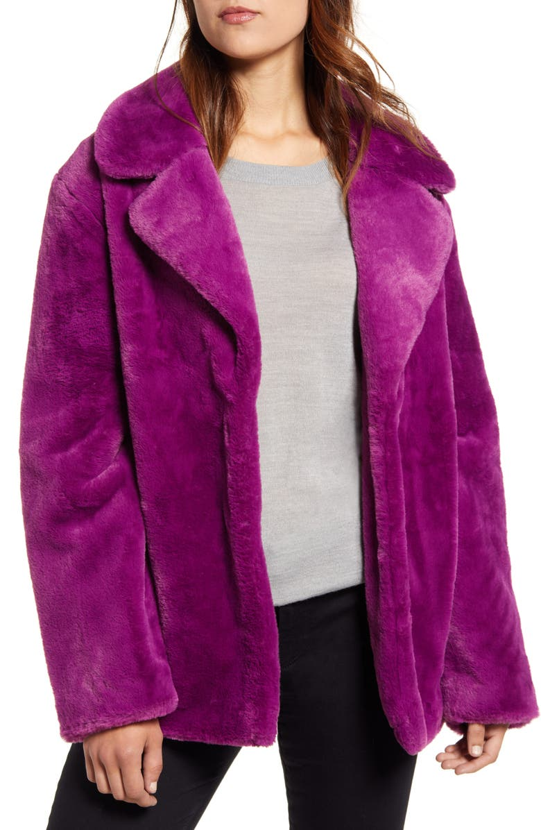 HALOGEN<SUP>®</SUP> Faux Fur Coat, Main, color, PLUM