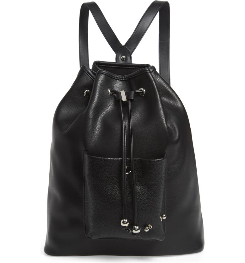 LIKE DREAMS Prima Faux Leather Drawstring Backpack, Main, color, 001