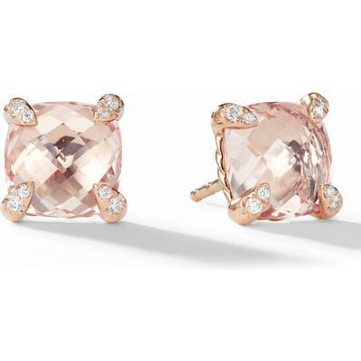 David Yurman Chatelaine Morganite 18K Rose Gold Stud Earrings With Diamonds