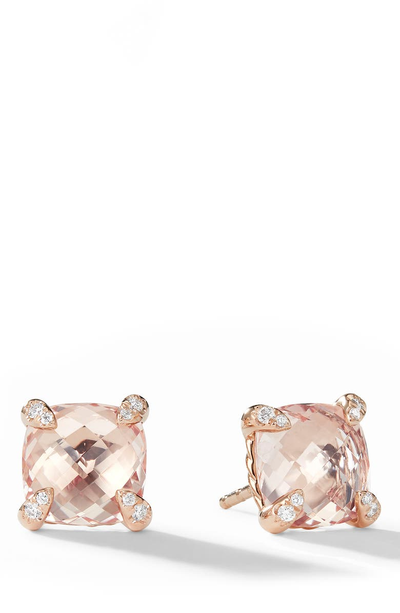 DAVID YURMAN Châtelaine<sup>®</sup> Morganite 18k Rose Gold Stud Earrings with Diamonds, Main, color, ROSE GOLD/ DIAMOND/ MORGANITE