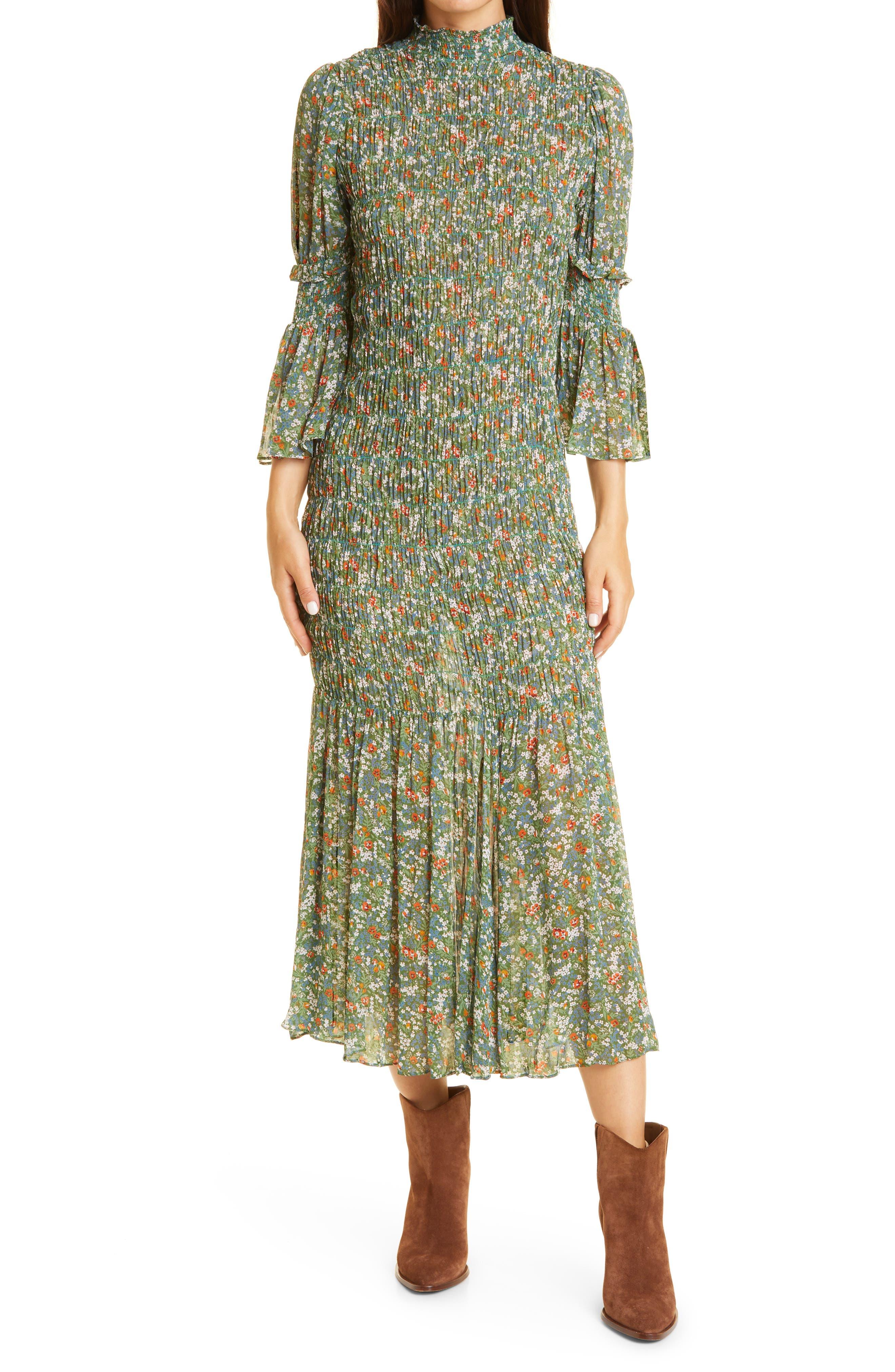 Georgette Smocked Three-Quarter Sleeve Midi Dress