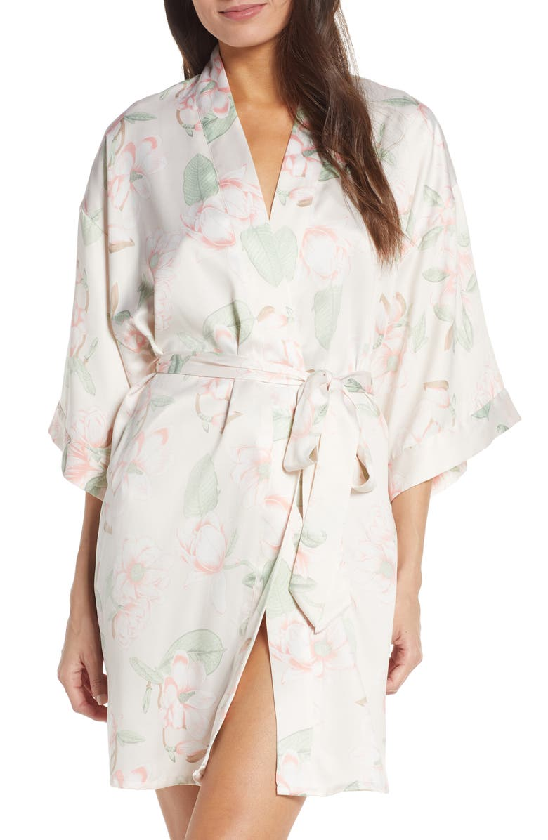 BLACK BOW Muse Robe, Main, color, AWM ANGEL WING MAGNOLIA