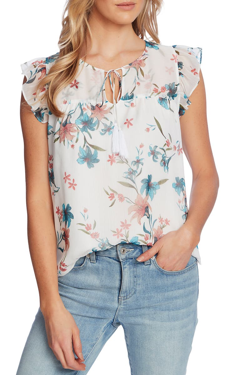 CECE Floral Flutter Sleeve Top, Main, color, SOFT ECRU