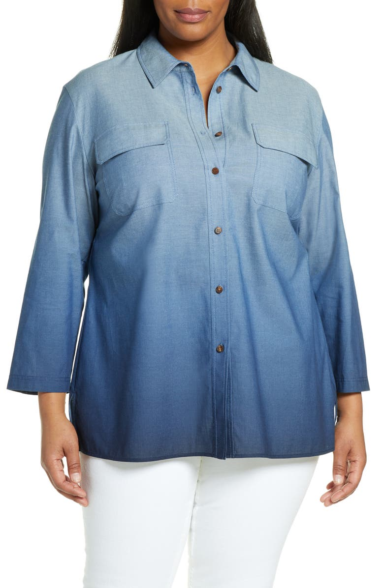 LAFAYETTE 148 NEW YORK Nicolina Ombré Blouse, Main, color, CHAMBRAY MULTI